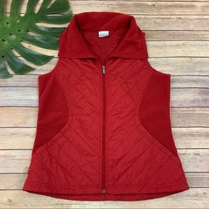 Columbia red fleece trim perfect mix zip up vest